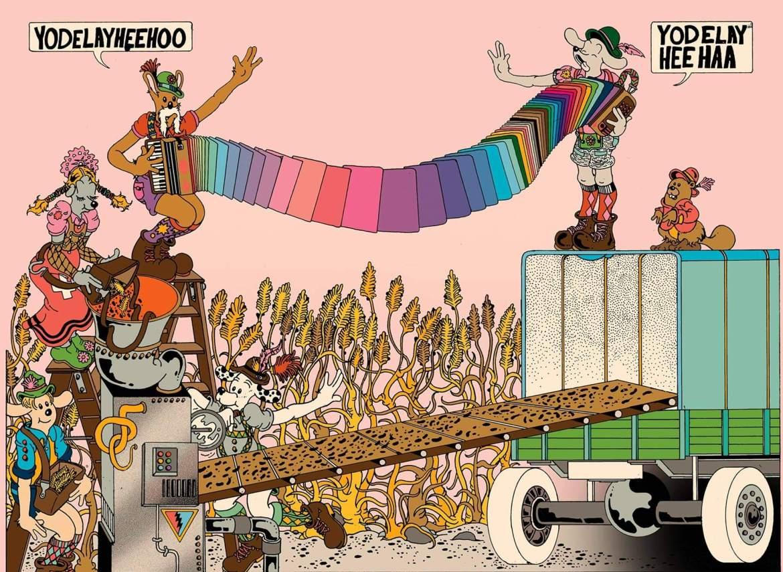 dibujo de músicos por el artista Brian Blomerth