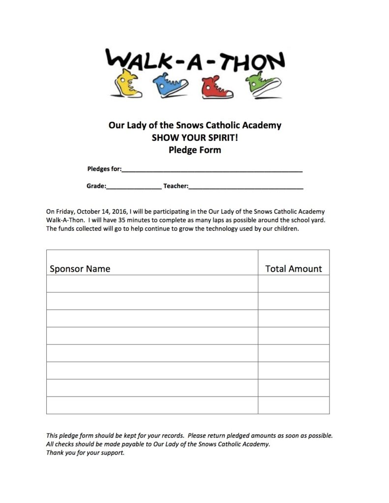 10+ charity pledge form templates in pdf   doc. Walk A Thon Pledge Form Our Lady Of The Snows Catholic Academy