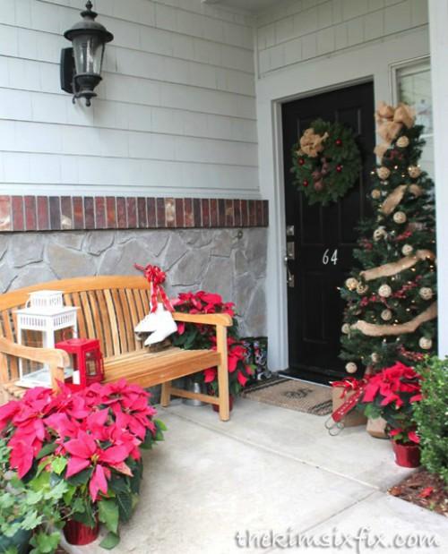 poinsettias and burlap front porch decorations