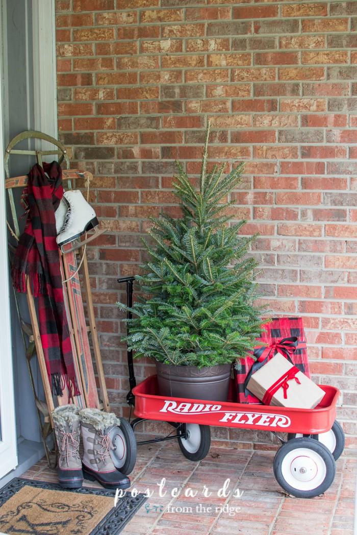 Christmas holiday decor with a Radio Flyer wagon