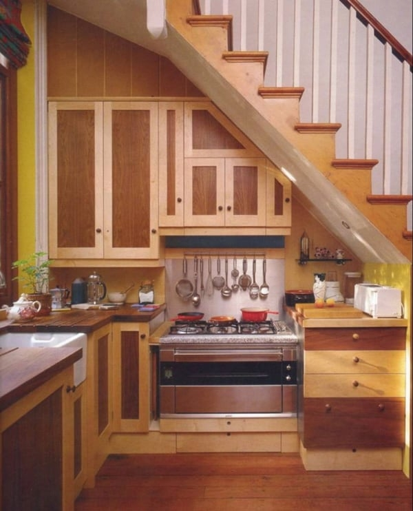 55 Amazing Space Saving Kitchens Under The Stairs | Kitchen Under Stairs Design | Stair Case | Wet Bar | Basement Stairs | Living Room | Basement Kitchenette