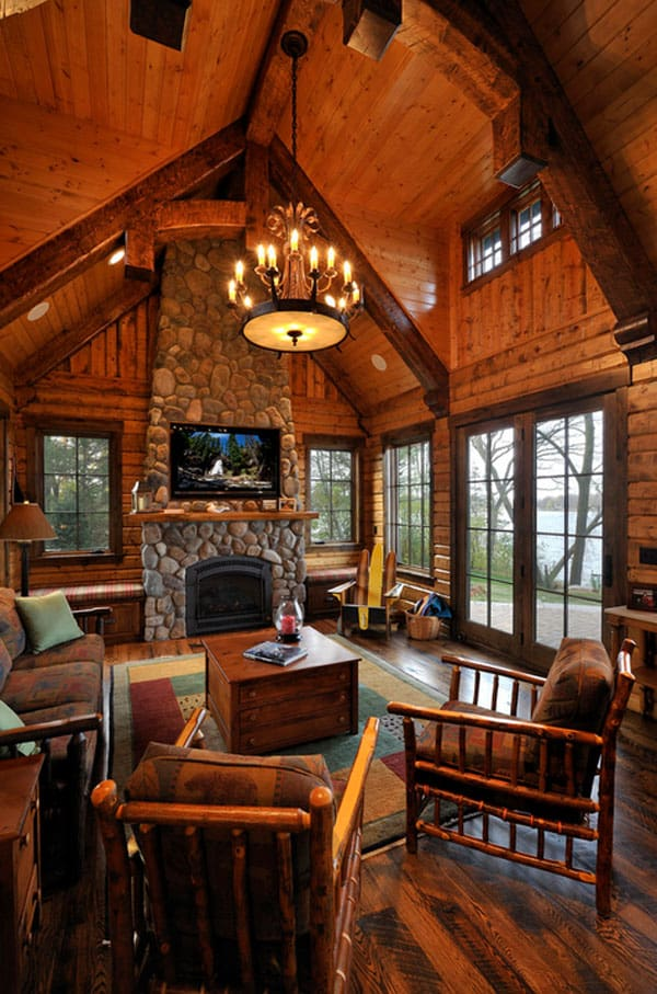 log cabin living room decorating ideas 2018 with tv 47 extremely cozy and rustic style rooms 29 1 kindesign