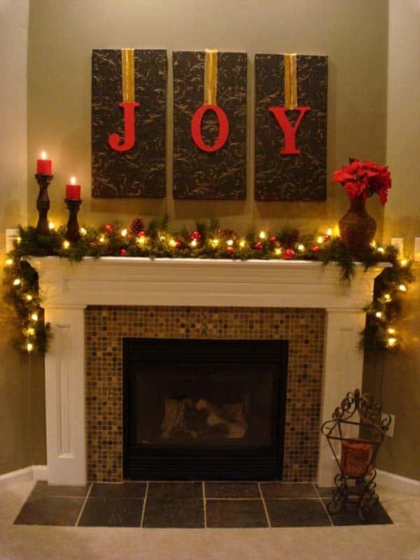 Poster Wall Decor Christmas Fireplace