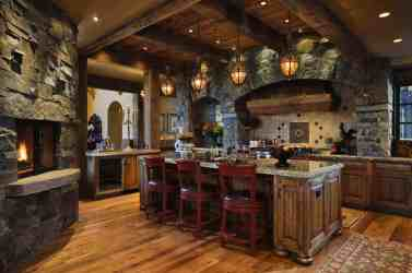 fireplace kitchen cozy kitchens rustic stone mountain showcasing warm fireplaces country brick clad fabulous timber frame features tour