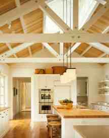 Farmhouse Kitchen with Beam Ceilings