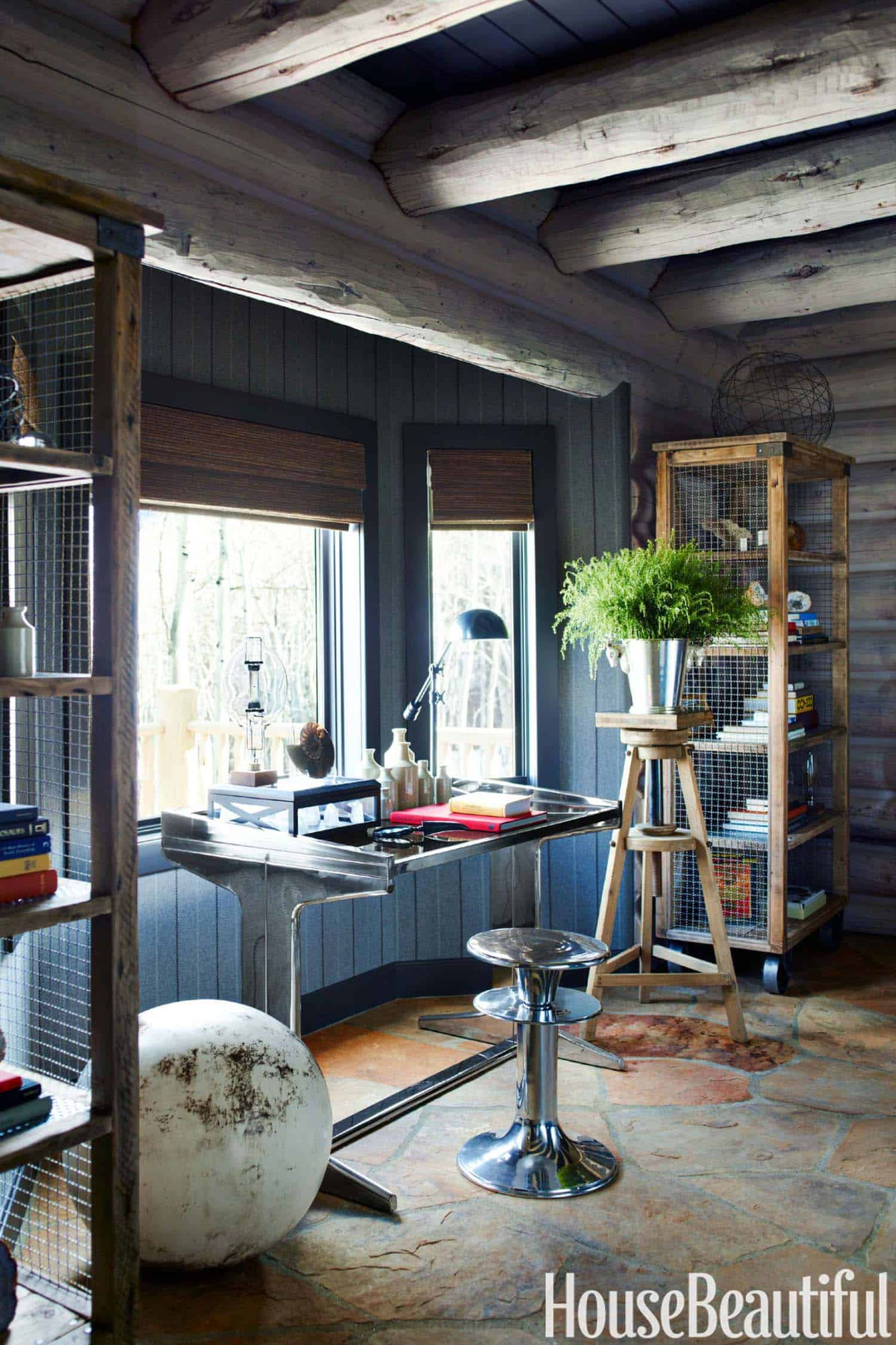 Cozy Wooden Log Cottage With Eclectic Interiors