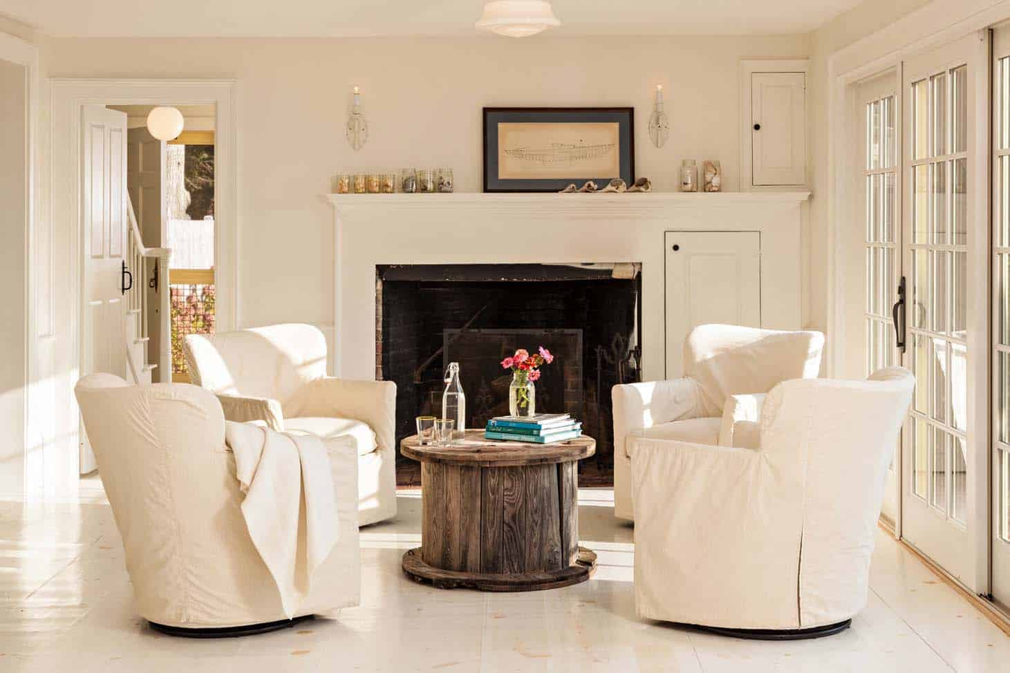 cape cod style living room design white furniture cottage radiates with pops of sunshine yellow interiors 08 1 kindesign jpg