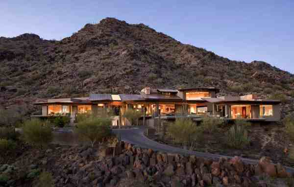 modern desert home set rocky