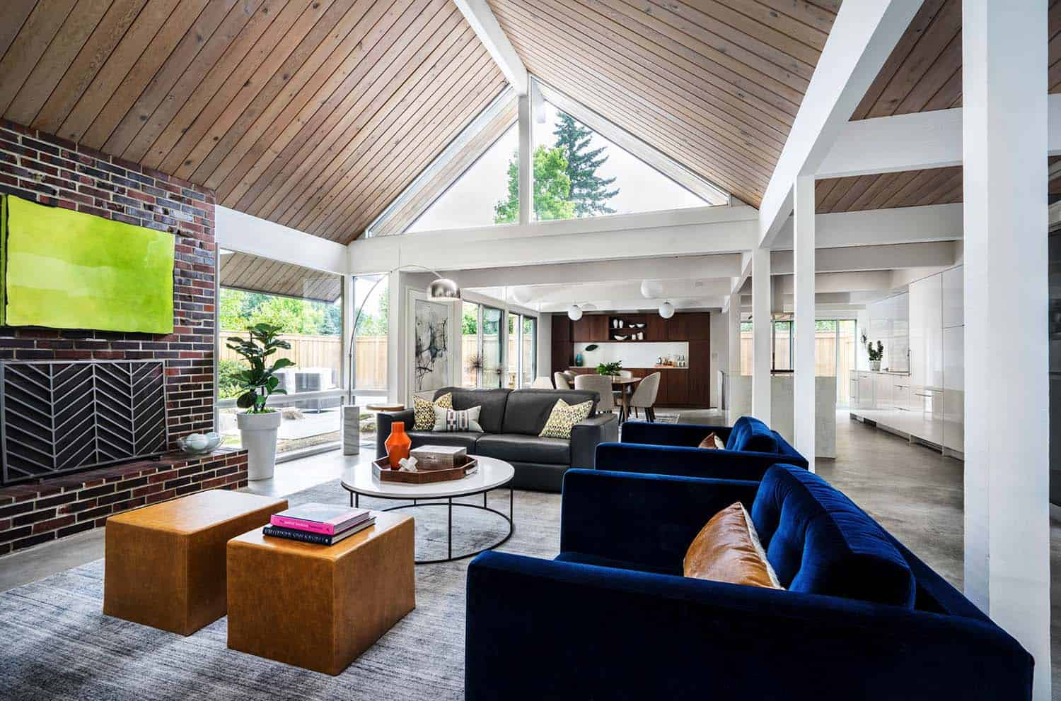 paint for the living room ideas large mirrors 38 absolutely gorgeous mid century modern ceiling of this portland features original 1970 s cedar beams are painted in miller 15801 white