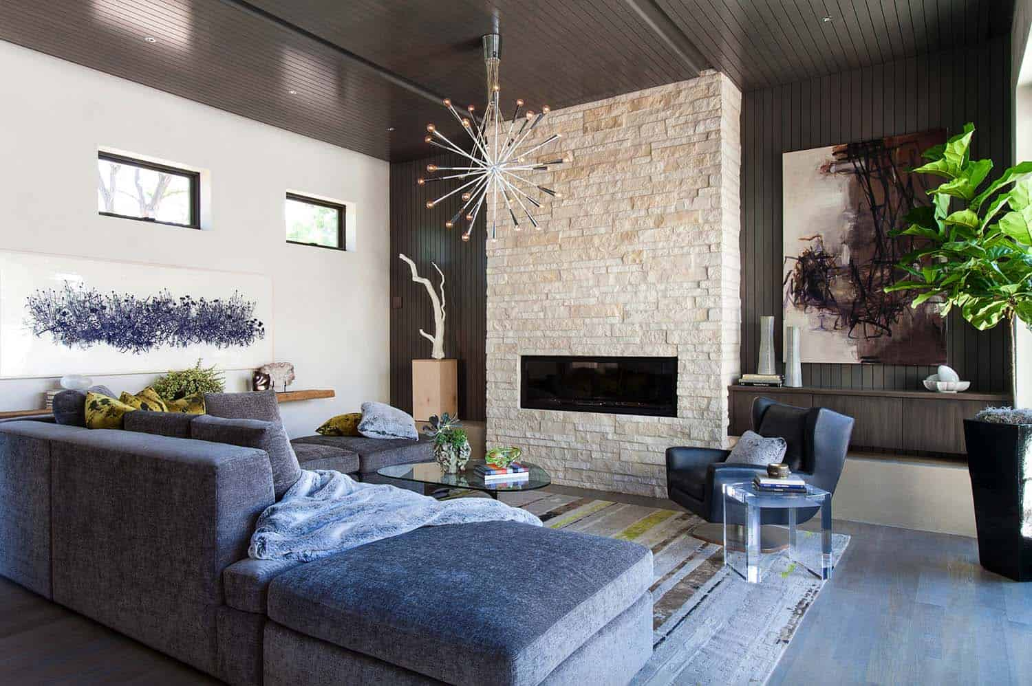 mid century modern living room lighting cabinets built in 38 absolutely gorgeous ideas a denver colorado home showcases this beautiful illuminating the space is eurofase 22801 zazu 20 light pendant