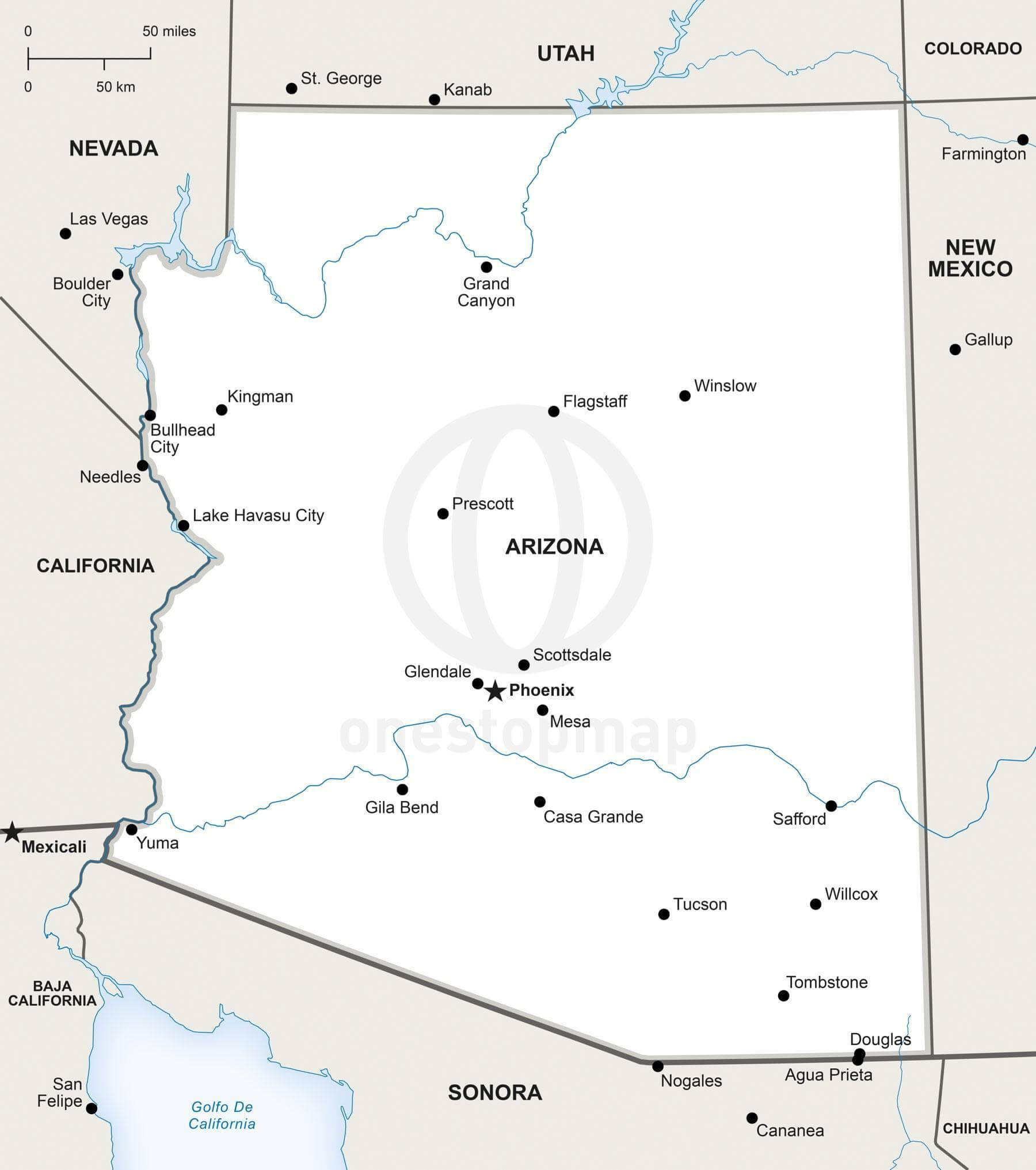 Vector Map Of Arizona Political