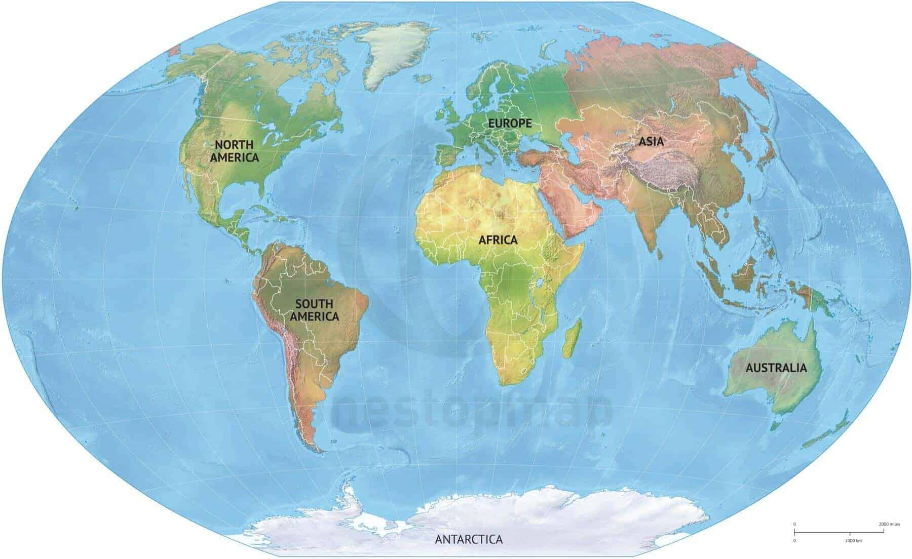 Vector Map World Relief Continents Political