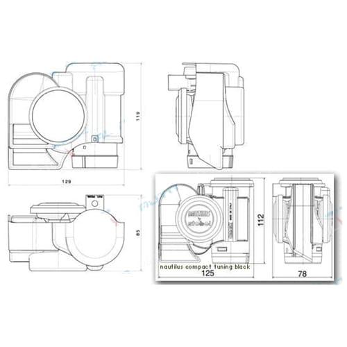Stebel Nautilus Compact 12volt Car Air 4x4 Horn Black