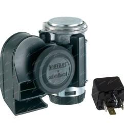 stebel nautilus compact motor bike air horn black 139db 12 volt motorcycle loud click to enlarge [ 1600 x 1600 Pixel ]
