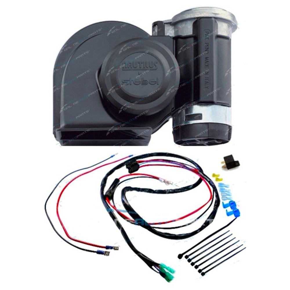 medium resolution of stebel nautilus black car air horn kit 12 volt 139db incl plug n horn relay wiring kit plug n play stebel nautilus air electric car