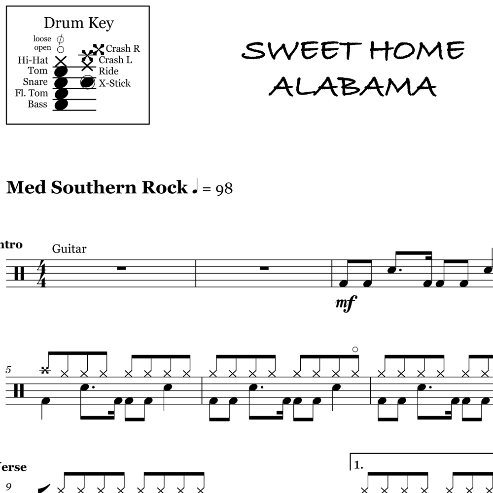 The history of lynyrd skynyrd's 1974 song sweet home alabama has a long. Sweet Home Alabama Lynyrd Skynyrd Drum Sheet Music Onlinedrummer Com
