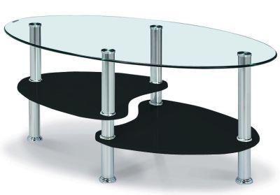 heshi glass tiered coffee table black