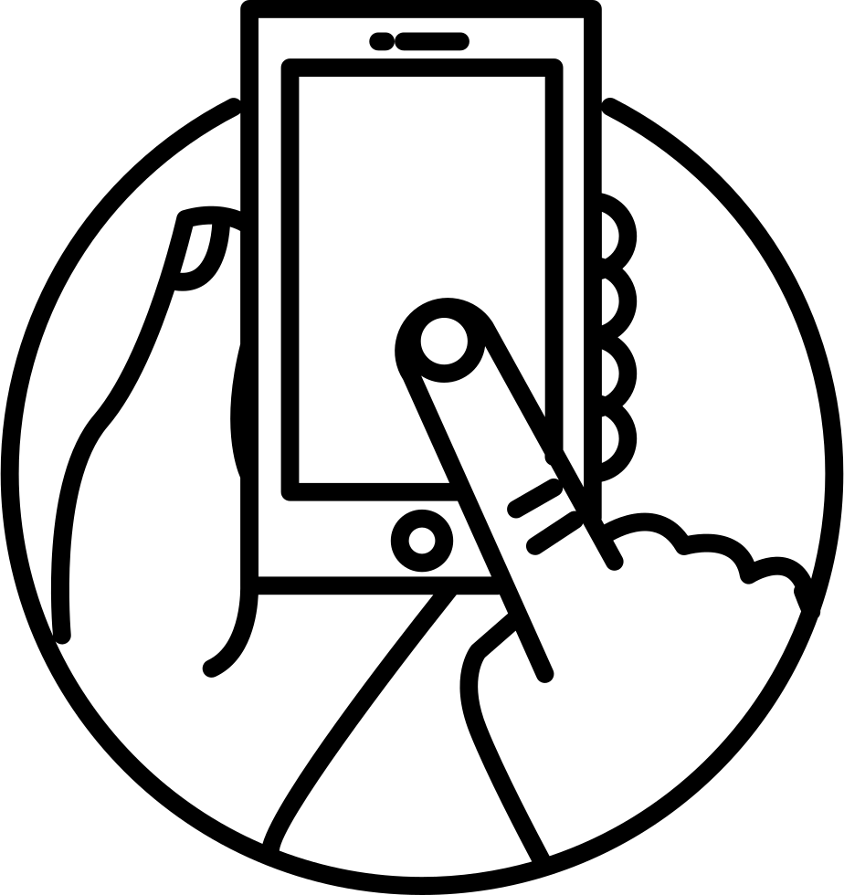 Touch Screen Phone In Human Hands Inside A Circle Svg Png