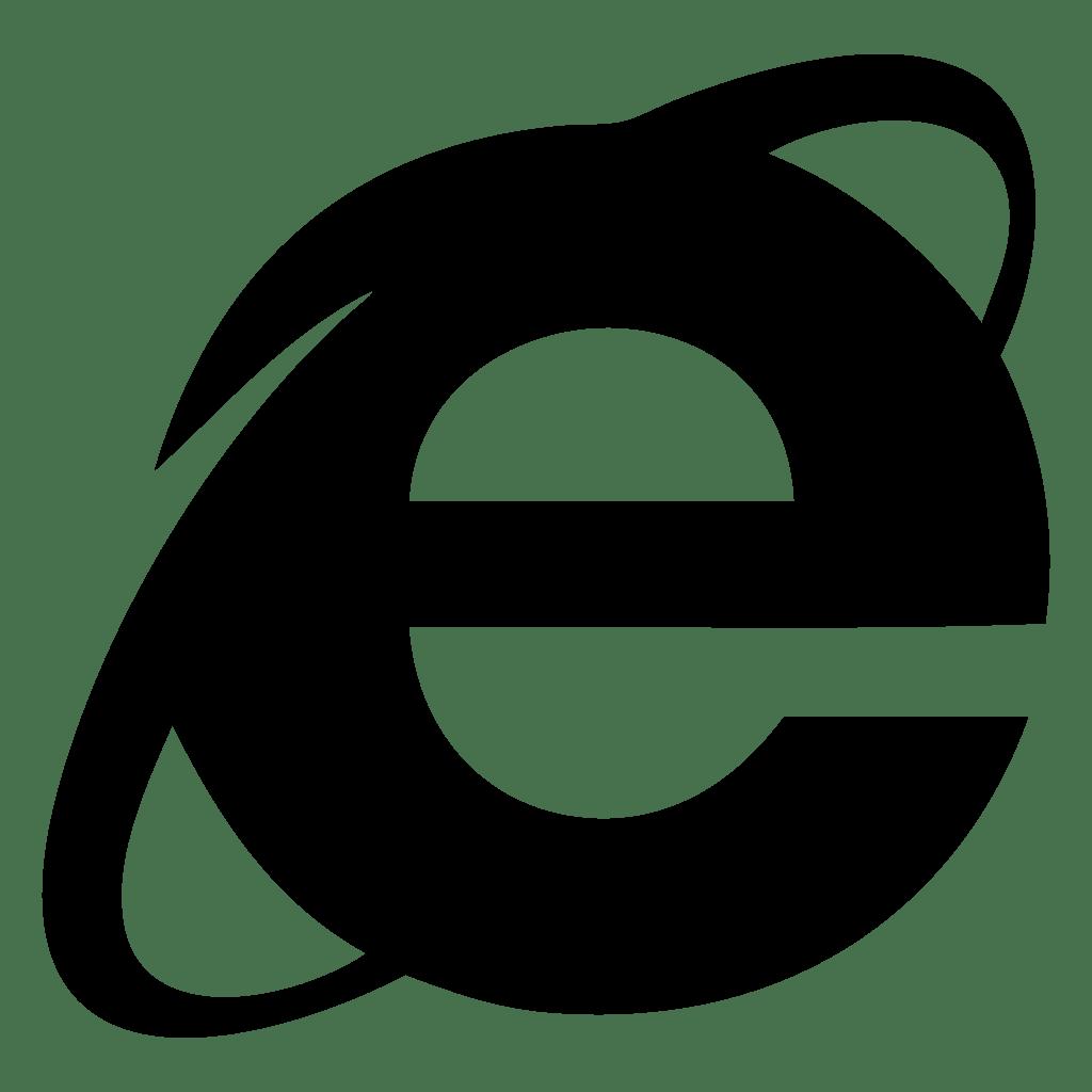 Explorer Icon Internet White Black And