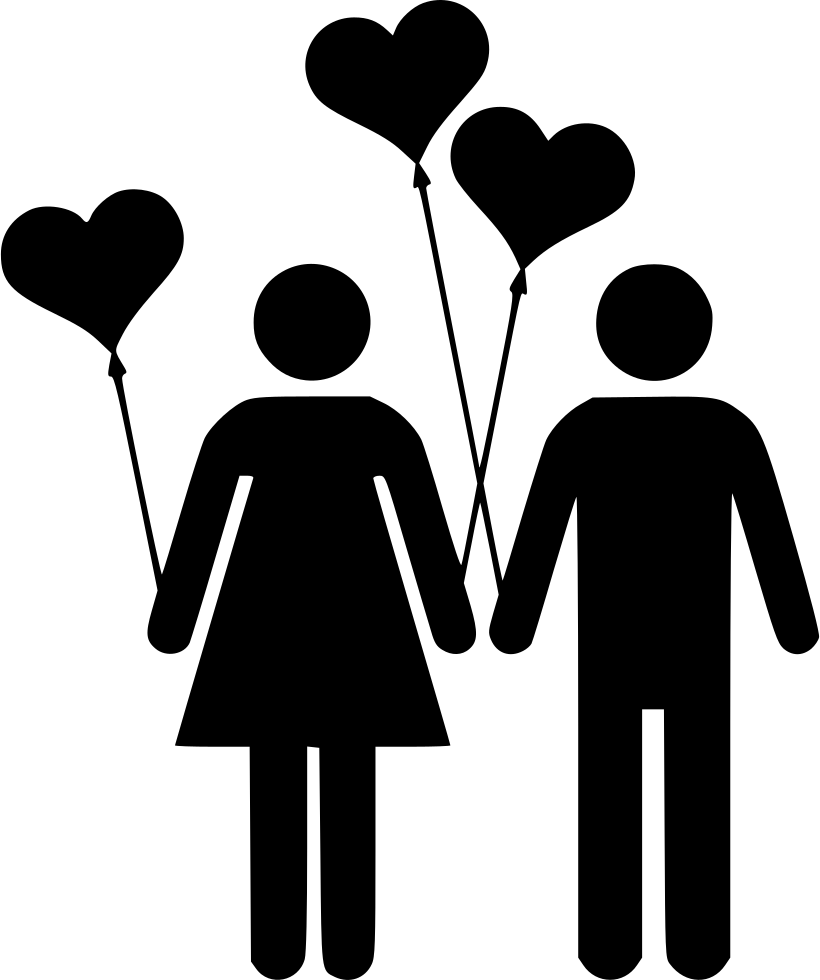 Download Couple Man Woman Love Balloon Heart Valentines Svg Png ...