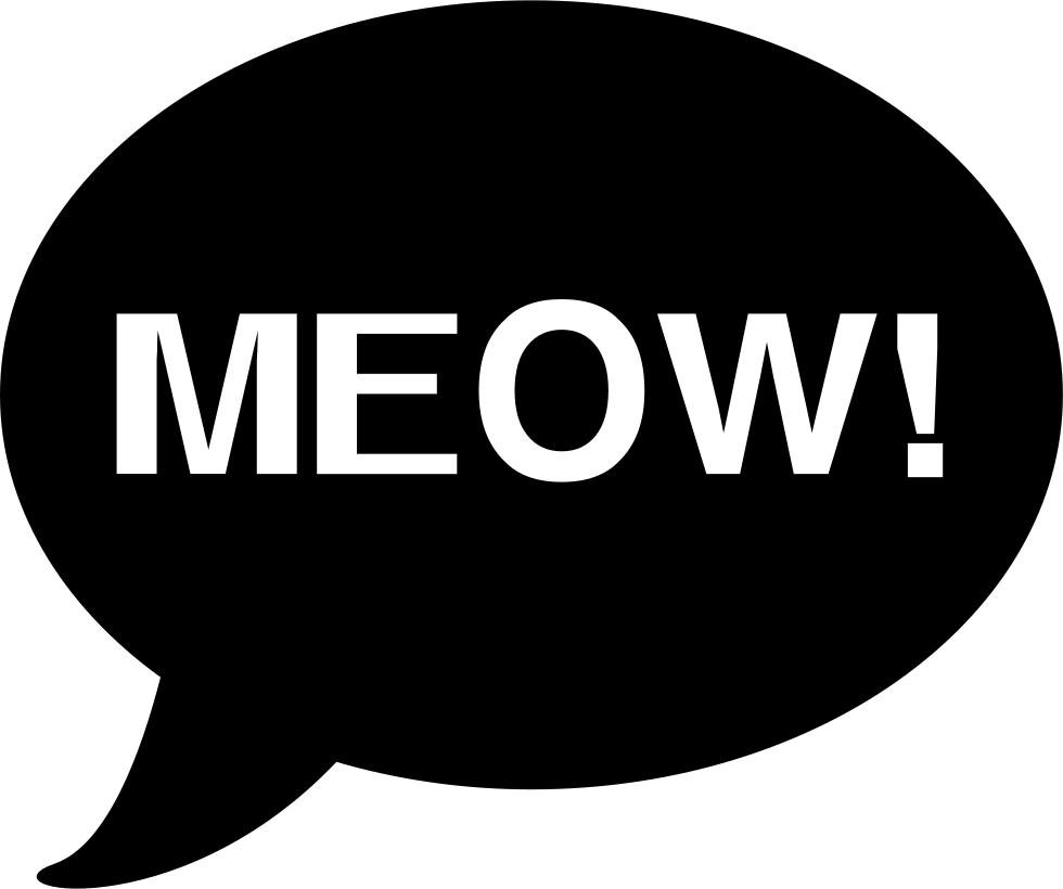 Meow Cat Sound Onomatopoeia In Oval Speech Bubble Svg Png Icon Free Download 74310