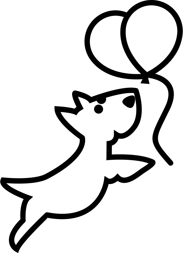 Dog Outline Chasing Balloons Svg Png Icon Free Download