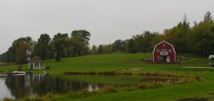 Image result for picture of farm with barn and pond
