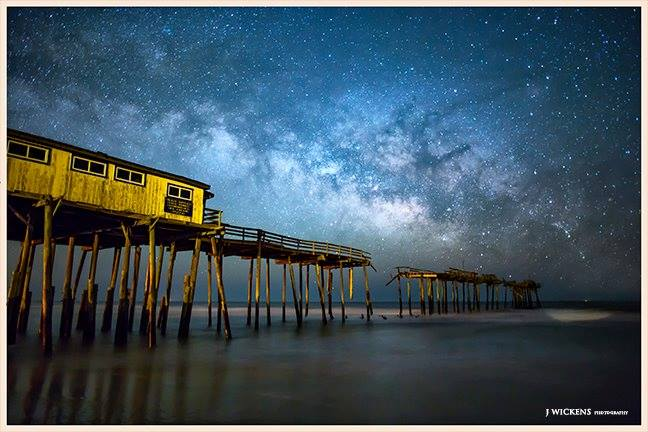 2. The Frisco Pier barely standing beneath a crystal clear night sky. Wow!
