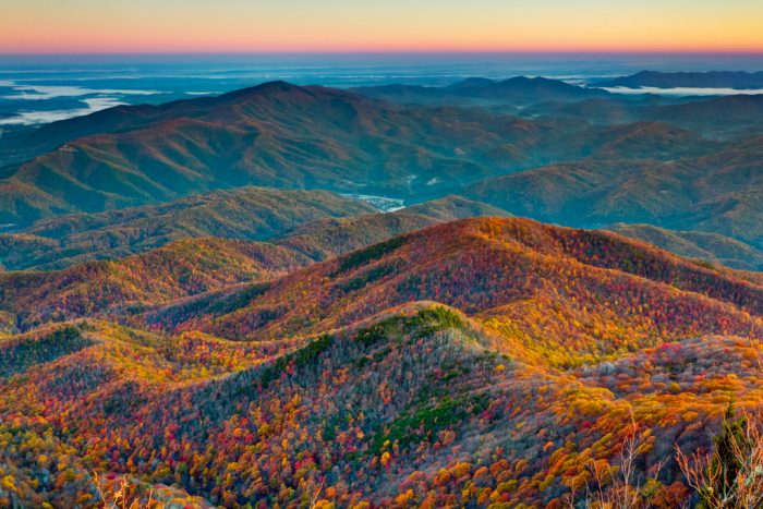 1. A gorgeous aerial perspective and a vibrant array of colors in the Great Smoky Mountains.