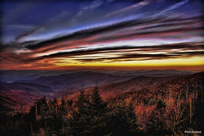 6. Brush strokes in the sky in this dreamy sunset from Clingman's Dome. Wow!
