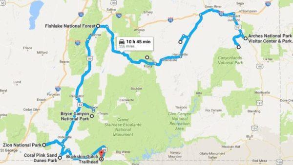 Natural Wonders In Utah Road Trip Map
