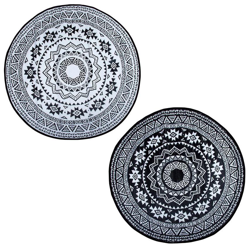 tapis exterieur rond 180 cm noir