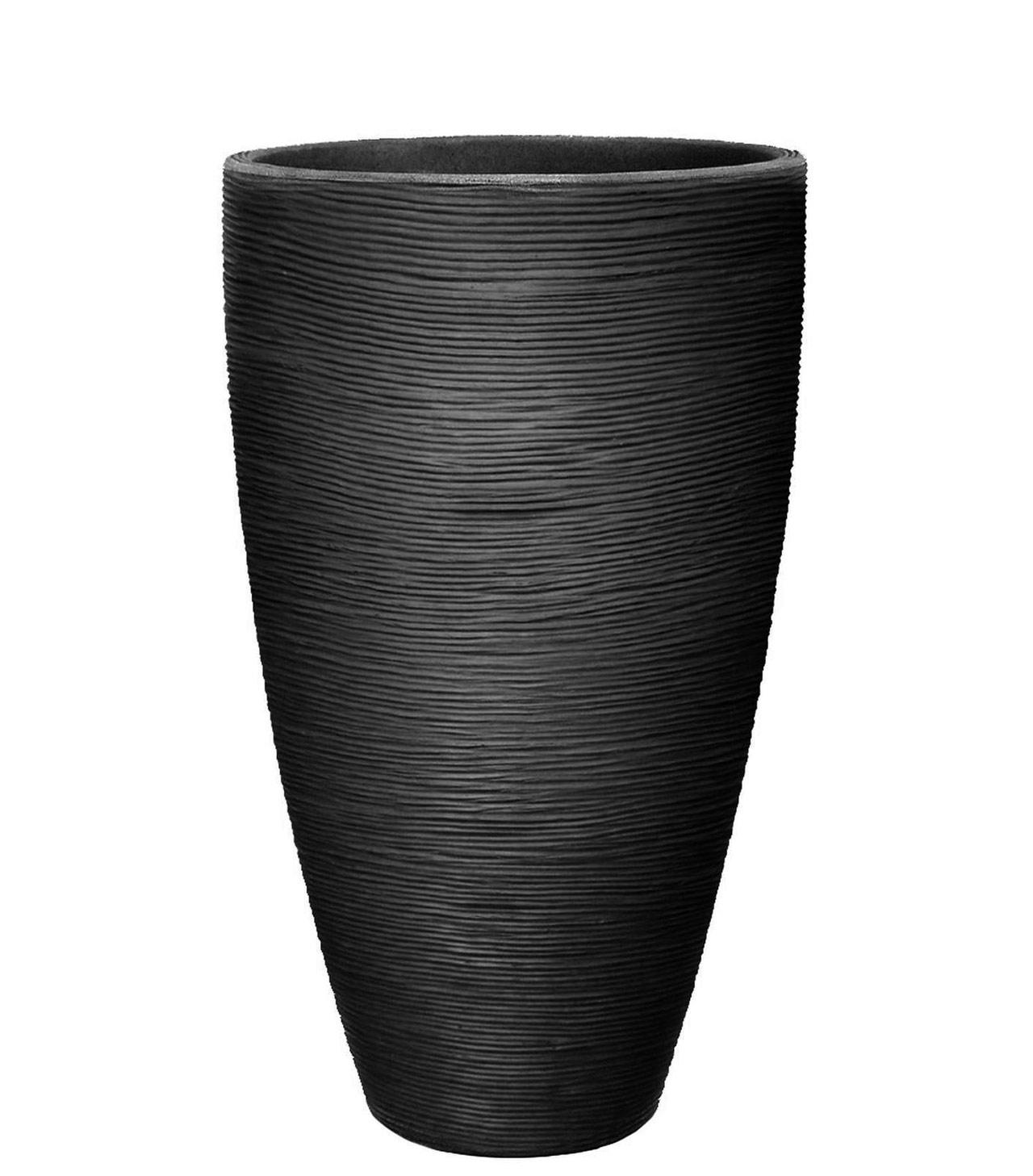 pot de fleurs haut 70 cm gris anthracite grooves