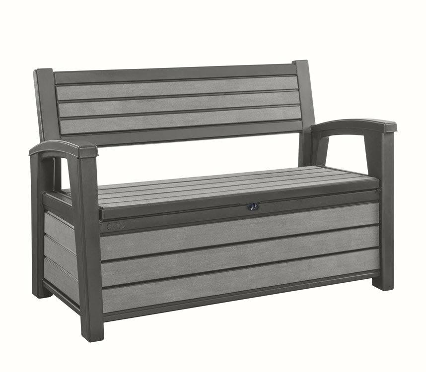 banc coffre resine gris anthracite 227l hudson bench