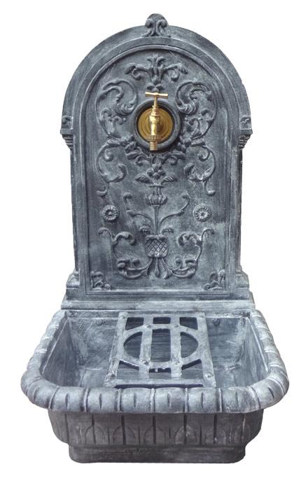 fontaine de jardin murale fonte gris