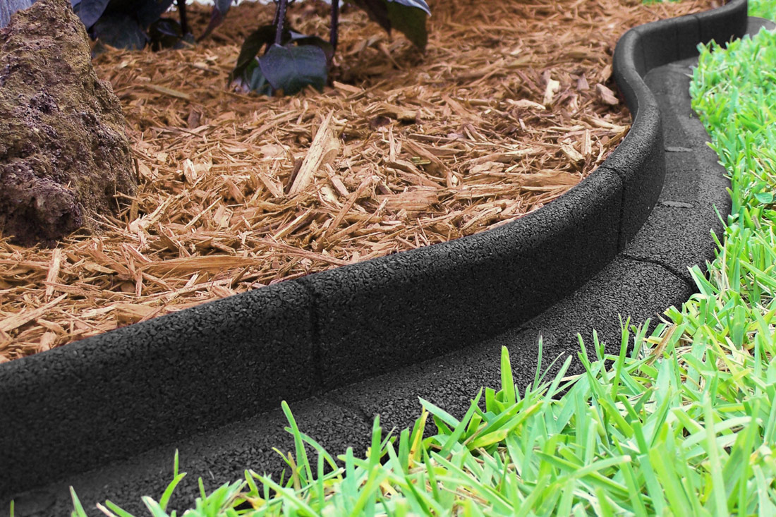bordure de jardin ecoborder en caoutchouc souple l 1 20m marron