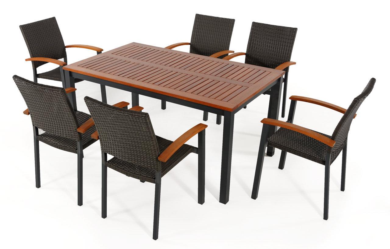 salon de jardin table barcelona 150 cm 6 fauteuils resine tressee barcelona