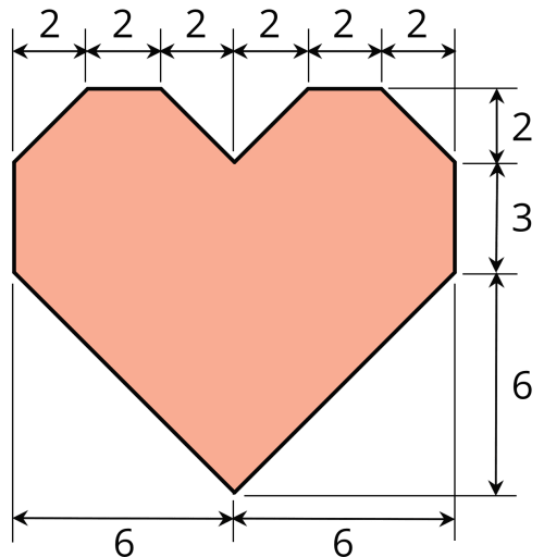 small resolution of a heart shaped polygon arrows along the bottom indicate the width of each half