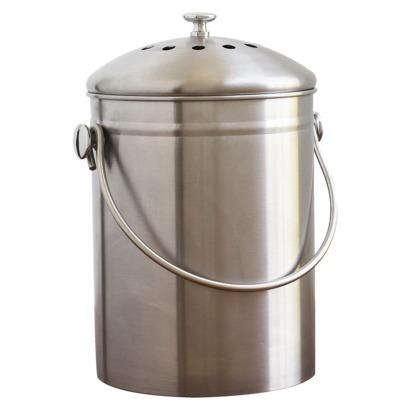 kitchen compost container pictures of islands 10 easy pieces pails the organized home above a natural stainless steel bin with filter has 1 3 gallon capacity and is 29 99 from target