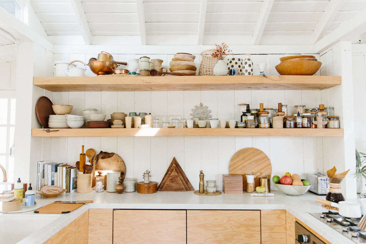 wall mounted kitchen shelves cheap table sets for sale 7 different ways to have open storage in the add shelving serena mitnik miller topanga canyon photo by nicki sebastian courtesy of rip and tan