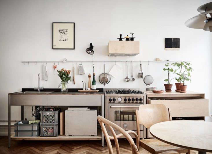 kitchen rail system used table 10 organized kitchens on a budget thanks to ikea s grundtal stadshem scandinavian remodelista 1 733x549
