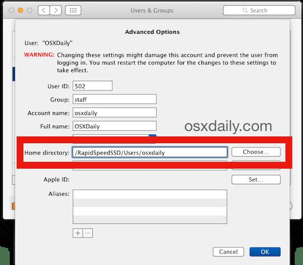 Измените расположение домашнего каталога пользователя в Mac OS X