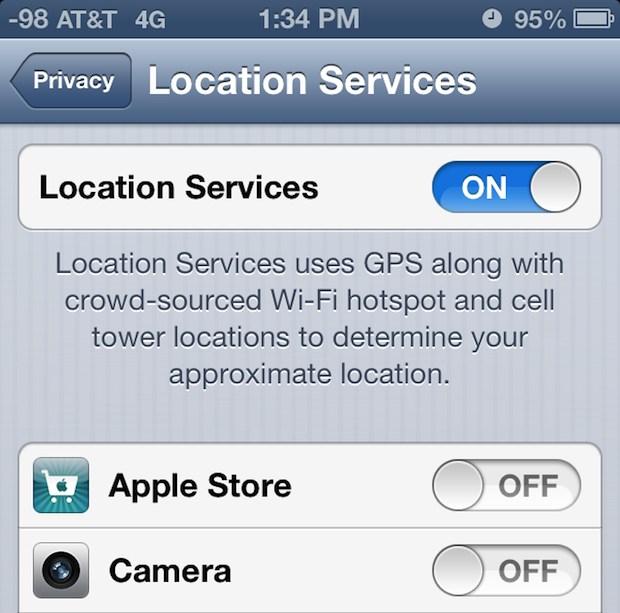 Отключение данных EXIF о местоположении камеры на iPhone