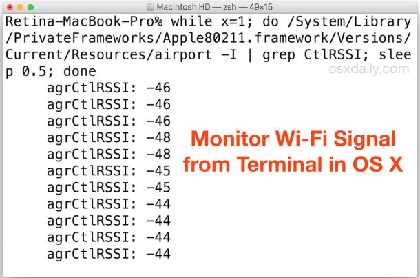 Мониторинг силы сигнала Wi-Fi из командной строки Mac OS X