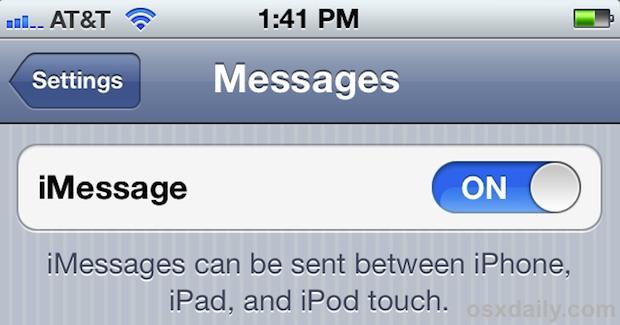 Включите iMessage в iOS 5 на iPhone, iPad или iPod touch