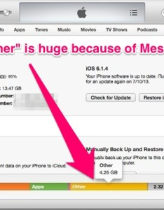 Huge other space in itunes because of iphone messages also  cother   capacity taking up tons here    fix for rh osxdaily