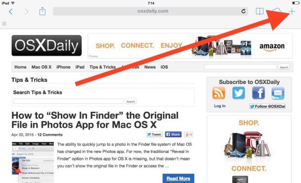 Повторно открыть закрытые окна браузера с помощью кнопки вкладки Safari на iPad