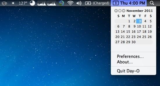 Замена дневных часов и строки меню календаря для Mac OS X