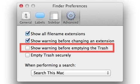 Отключить предупреждение о пустой корзине в Mac OS X