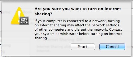 Enable Internet Sharing from a Mac